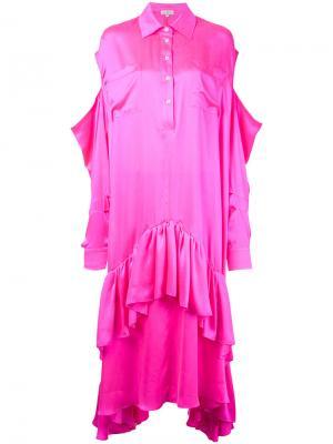 Платье-кафтан с вырезами на плечах Natasha Zinko. Цвет: розовый и фиолетовый