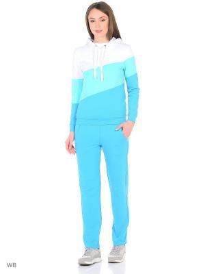 Спортивный костюм FORLIFE. Цвет: голубой, белый, бирюзовый
