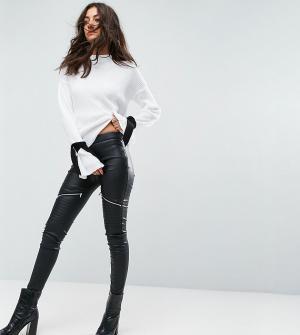 Glamorous Tall Облегающие байкерские брюки из искусственной кожи. Цвет: черный