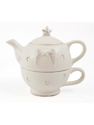 Набор для чая Крылья ангела Русские подарки. Цвет: белый