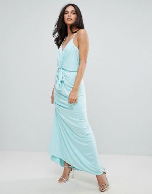Forever Unique Платье макси на бретельках с поясом. Цвет: синий