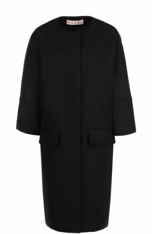Шерстяное пальто с круглым вырезом и укороченным рукавом Marni. Цвет: черный