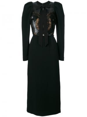 Платье с отделкой бисером Elie Saab. Цвет: чёрный