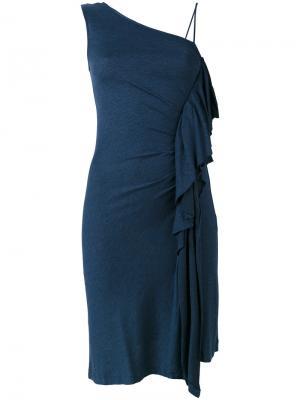 Платье с оборками на одно плечо Paul & Joe. Цвет: синий
