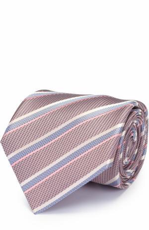 Шелковый галстук в полоску Brioni. Цвет: сиреневый