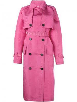 Тренч с ремнем древесной текстуры Alessandra Rich. Цвет: розовый и фиолетовый