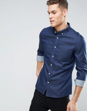 ASOS Узкая эластичная джинсовая рубашка темного цвета. Цвет: темно-синий