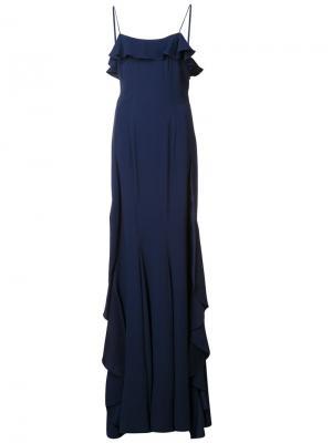 Длинное платье Candice Zac Posen. Цвет: синий