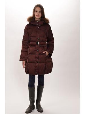 Пальто для девочек TOPKLAER. Цвет: коричневый