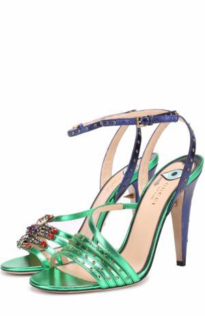 Босоножки Wangy из металлизированной кожи с декором Gucci. Цвет: зеленый