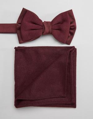 ASOS Бордовый трикотажный галстук-бабочка и платок для нагрудного кармана A. Цвет: красный