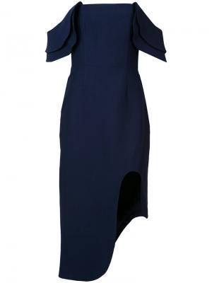 Платье с открытыми плечами C/Meo. Цвет: синий