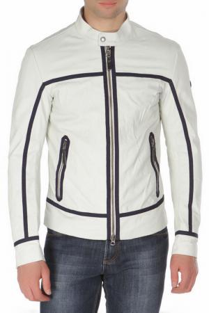 Полуприлегающая кожаная куртка Armani Jeans. Цвет: молочный