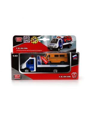 Машина Технопарк металлическая инерционная газель эвакуатор дпс 1:43 свет и звук. Цвет: белый, синий, красный