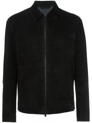 Замшевая куртка на молнии Z Zegna. Цвет: чёрный