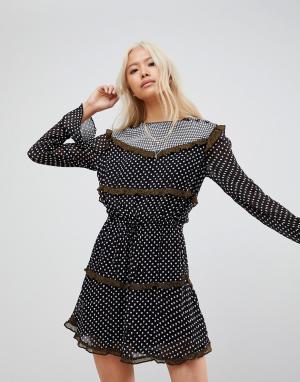 Maison Scotch Платье с длинными рукавами и принтом. Цвет: мульти