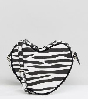 Lazy Oaf Эксклюзивная сумка через плечо в форме сердца с принтом зебру O. Цвет: черный