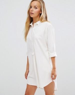 Maison Scotch Платье-рубашка Home Alone. Цвет: белый