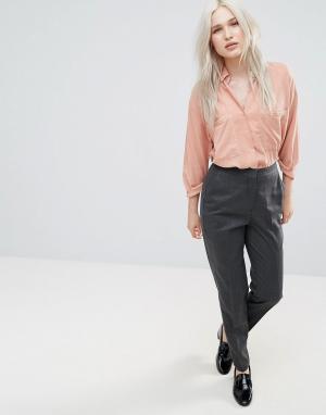 Selected Приталенные брюки из смешанной шерсти Valina. Цвет: серый