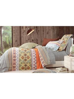 Комплект постельного белья, Семейный Sofi de Marko. Цвет: серый, оранжевый, зеленый