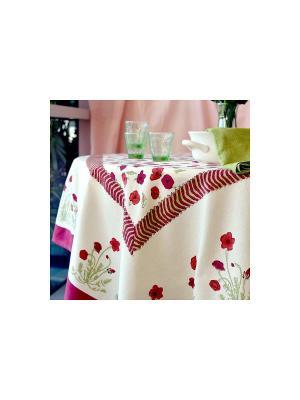 Скатерть Poppies red-green /Маки красный-зеленый/ 150*220см, 100% хлопок Mas d'Ousvan. Цвет: белый, красный