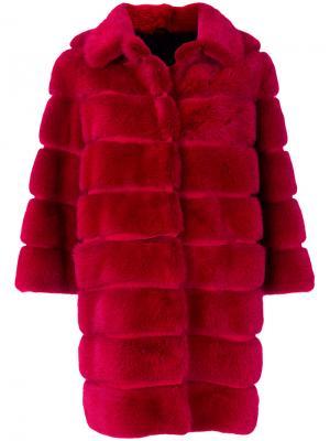 Пальто со вставками и укороченными рукавами Simonetta Ravizza. Цвет: красный