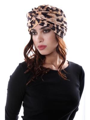 Чалма-шапочка утепленная на флисе Леопардовая предварительно завязанная SEANNA. Цвет: коричневый