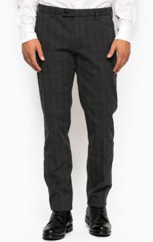 Хлопковые зауженные брюки в клетку Gant. Цвет: серый