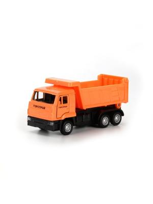 Машина металлическая инерционная Камаз-самосвал 12см, открываются двери. Технопарк. Цвет: оранжевый, черный