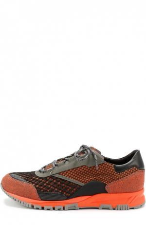 Текстильные кроссовки с кожаной отделкой Lanvin. Цвет: оранжевый