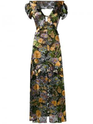 Длинное платье с цветочным принтом For Love And Lemons. Цвет: многоцветный