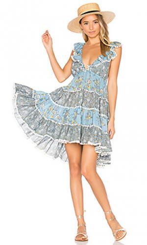 Ярусное платье с юбкой солнцеклёш caravan Zimmermann. Цвет: синий