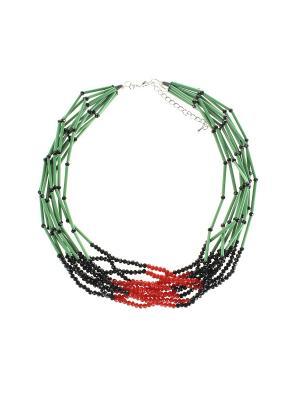 Колье Olere. Цвет: зеленый, красный, черный