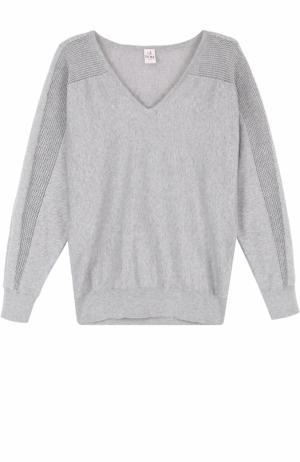 Пуловер с перфорацией и V-образным вырезом Deha. Цвет: серый