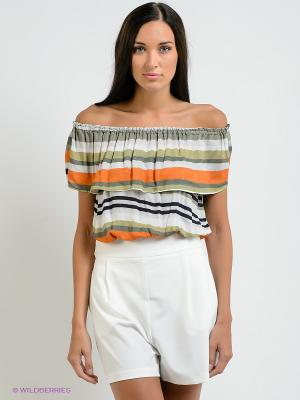 Блузка BSB. Цвет: зеленый, оранжевый, белый