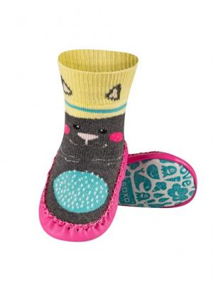 Тапочки-носочки детские SOXO. Цвет: темно-серый, розовый, желтый
