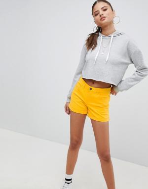 Noisy May Джинсовые шорты с подвернутым краем. Цвет: желтый