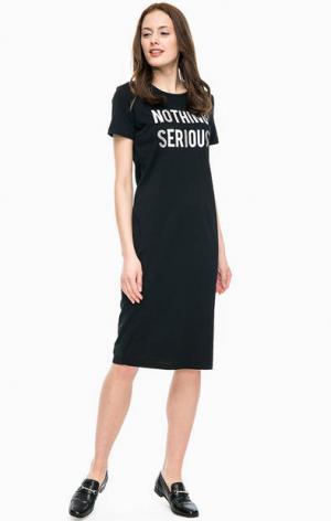 Трикотажное платье футболка с короткими рукавами Kocca. Цвет: черный