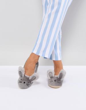 New Look Балетки-слиперы с кроличьими ушками. Цвет: серый