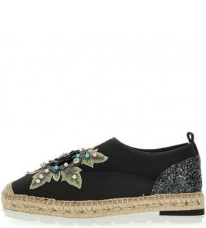 Текстильные туфли с вышивкой Kanna. Цвет: черный