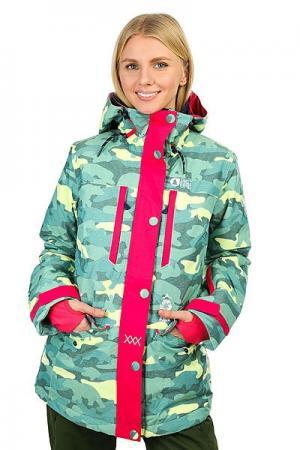 Куртка утепленная женская  May Blue Camo Print Picture Organic. Цвет: голубой,желтый,зеленый
