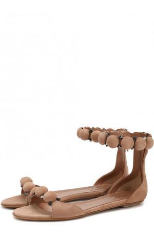 Замшевые сандалии с декором на шпильке Alaia. Цвет: бежевый