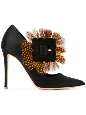 Туфли с пряжкой и перьями Rupert Sanderson. Цвет: чёрный