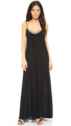 Длинное платье с заплетенной колосом отделкой выреза в стиле браслета-фенечки Red Carter. Цвет: голубой