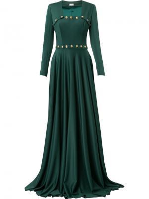 Платье с квадратным вырезом и пуговицами Alexis Mabille. Цвет: зелёный
