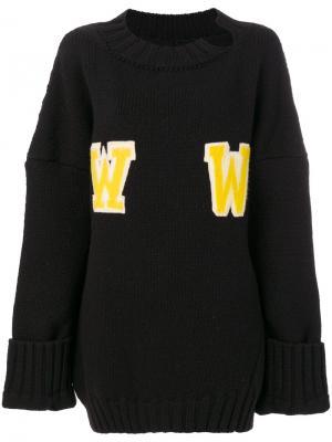 Свободный свитер WW Off-White. Цвет: чёрный
