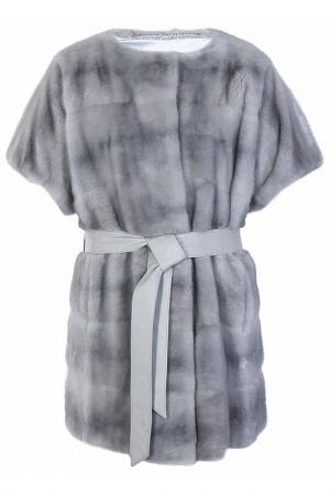 Пальто с мехом норки Bellini. Цвет: голубой