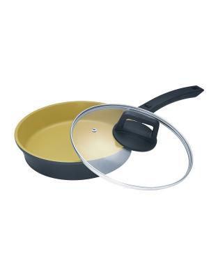 Сковорода с керамическим, золотым покрытием, 1,8 л. Barton Steel. Цвет: черный, золотистый