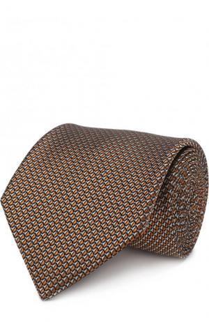 Шелковый галстук с узором Lanvin. Цвет: коричневый