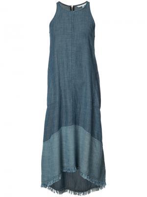 Джинсовое платье без рукавов Trina Turk. Цвет: синий